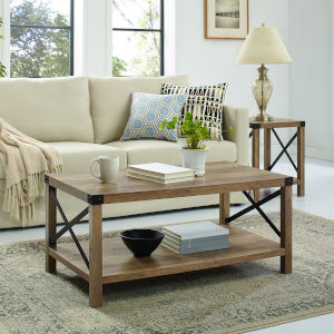 Rustic Oak and Black Coffee Table
