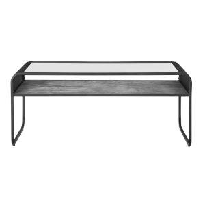 Dark Concrete 42-Inch Reversible Shelf Curved Metal Coffee Table