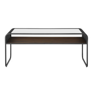 Gray Wash and Dark Walnut 42-Inch Reversible Shelf Curved Metal Coffee Table
