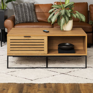 Jackson English Oak and Black Slat Door Coffee Table