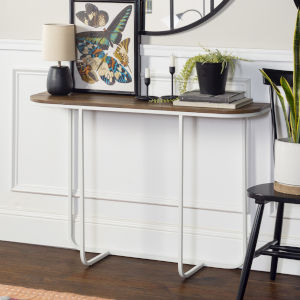 Lowell Faux White and Black Entry Table
