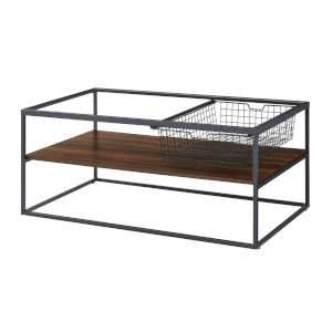 Dark Walnut and Black Coffee Table with Mesh Drawer
