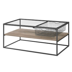 Gray and Black Coffee Table with Mesh Drawer
