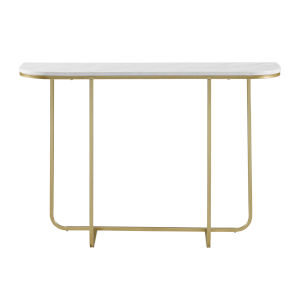 White Faux and Gold 44-Inch Curved Entry Table