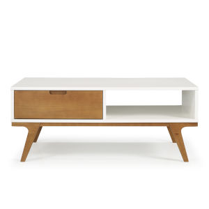 Mateo White and Caramel Coffee Table with One Drawer