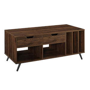 Molly Dark Walnut and Black Record Storage Coffee Table