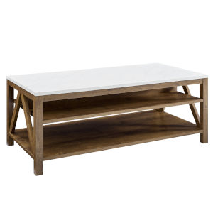 Faux White and Natural Walnut Coffee Table