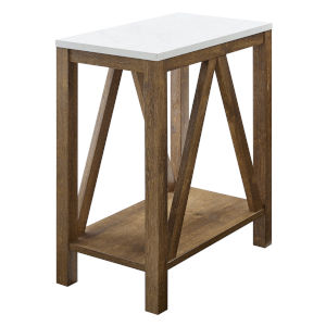Faux White and Natural Walnut Side Table