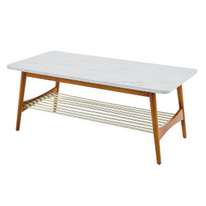 Faux White and Acorn Tapered Leg Coffee Table