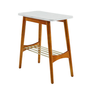 Jamie Faux White and Acorn Tapered Leg Side Table