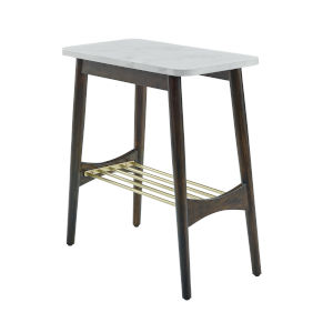 Jamie Faux White and Dark Brown Tapered Leg Side Table