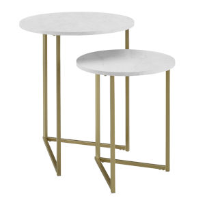 White Faux and Gold 20-Inch Two-Piece V-Leg Nesting Side Tables