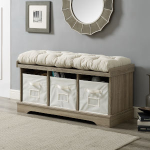 Grey Entryway Storage Bench