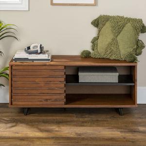 Cory Walnut Slat Door Storage Bench