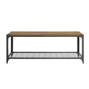 Barnwood and Black Entry Bench with Shelf