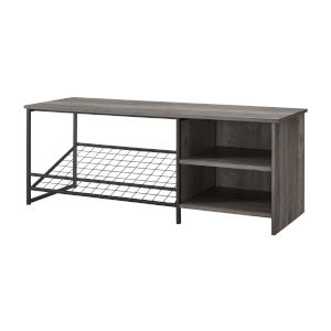 Clayton Gray and Black Entry Bench with Shoe Storage
