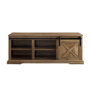 Barnwood and Black Sliding Door Entry Bench with Storage