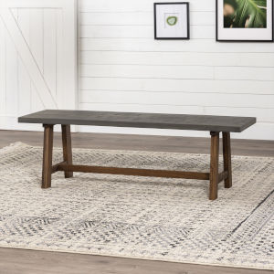 Brennan Gray and Brown Dining Bench