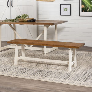 Brennan Barnwood and White Wash Dining Bench