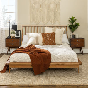 Queen Caramel Spindle Bed