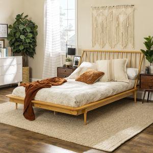 Light Oak Queen Spindle Bed