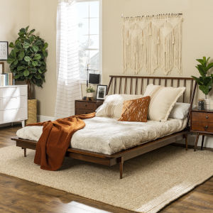 Queen Walnut Spindle Bed