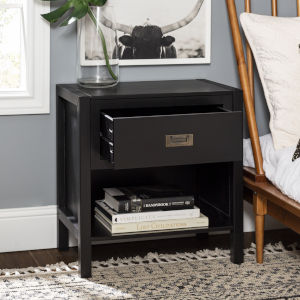 Lydia Black Nightstand with One Drawer