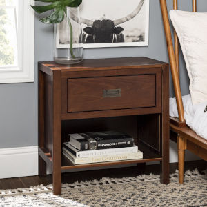 Lydia Walnut Nightstand with One Drawer