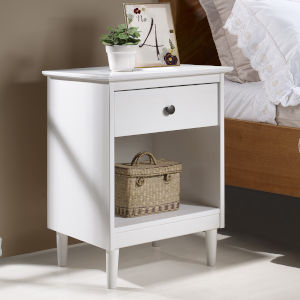 White One Drawer Nightstand