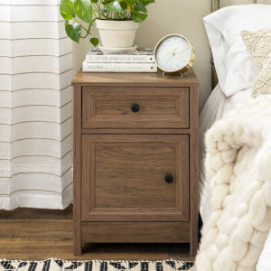 Classic Dark Walnut and Black Nightstand