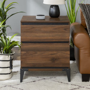 Elroy Dark Walnut and Black Side Table