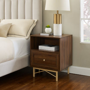 Gwen Dark Walnut One-Drawer Nightstand