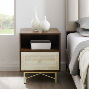Gwen Dark Walnut White Poplar One-Drawer Nightstand