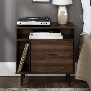 Dark Walnut 25-Inch Storage Side Table