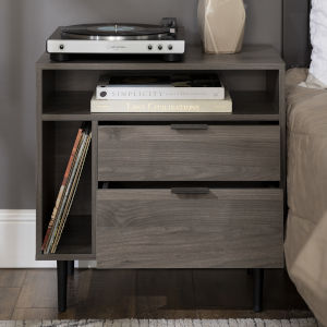Slate Gray 25-Inch Storage Side Table