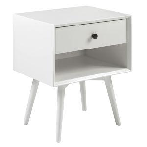 Mid Century White One-Drawer Nightstand