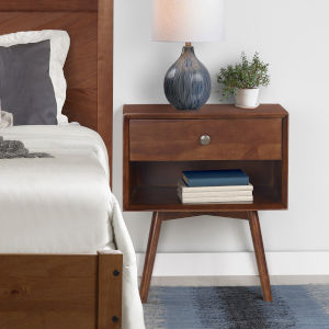 Brown One Drawer Nightstand