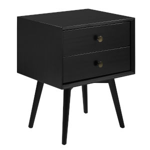 Mid Century Black Two-Drawer Nightstand