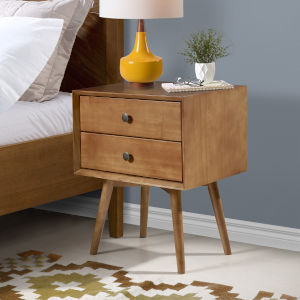 Brown Two Drawer Nightstand