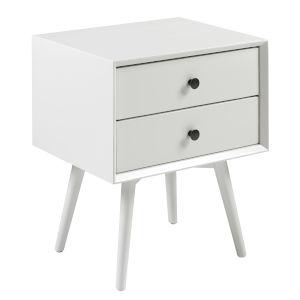 Mid Century White Two-Drawer Nightstand