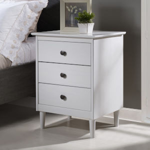 White Three Drawer Nightstand