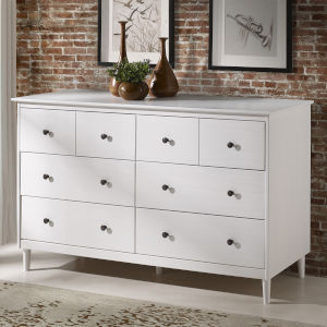 White Six Drawer Dresser