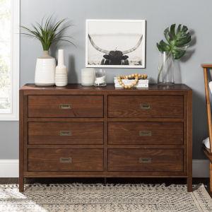 Lydia Walnut Dresser with Six Drawer