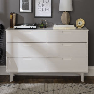 Sloane White Groove Dresser with Six Drawer