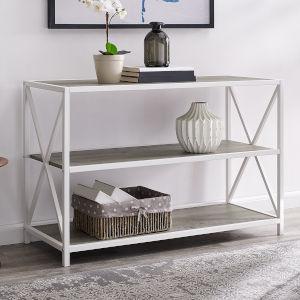 Grey Wash, White Metal Bookcase