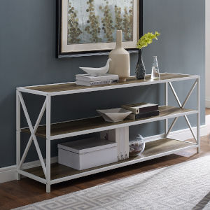 Rustic Oak, White Metal Bookcase