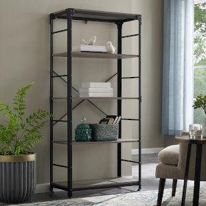Grey Four Shelf Bookcase