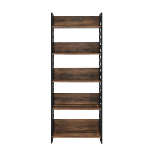 Howard Reclaimed Barnwood and Solid Black Five Self Bookcase