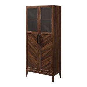 Logan Dark Walnut and Black Storage Cabinet