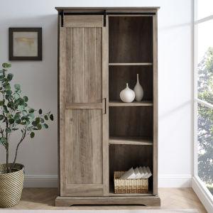 Barn Door Grey Wash Storage Cabinet
